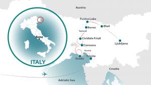 Map of Friuli-Slovenia tour