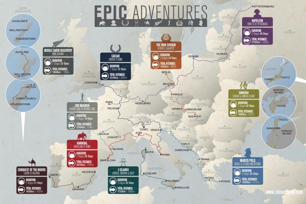 European Epic Bike Tours Map