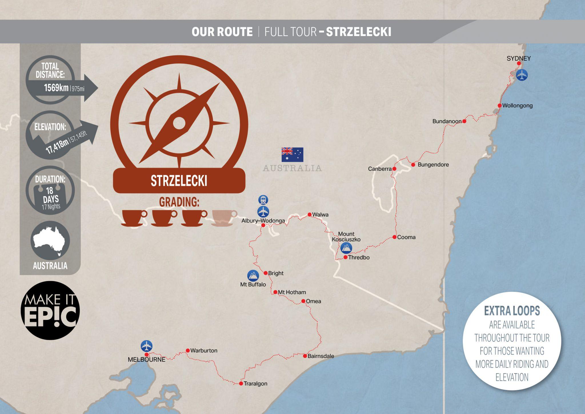 Strzelecki Bike Tour Map